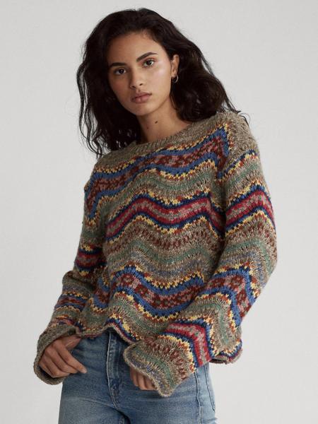 Jersey de mujer en lana y estampado fantasía