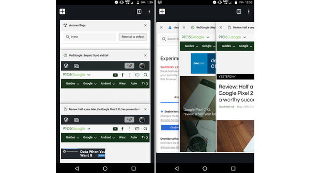 Tab Switcher Chrome Android-OS 67