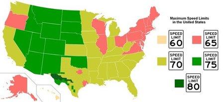 Limites de velocidad en Estados Unidos