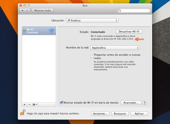 IP Fija conseguida en OS X