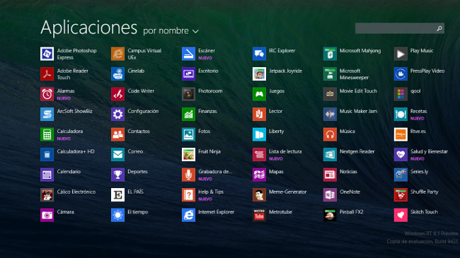 Foto de Pantalla de aplicaciones de Windows 8.1 (1/4)