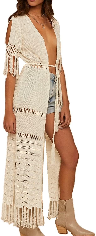 LikeJump Vestido de Playa Crochet Kaftan Kimonos Pareos Verano para Mujer