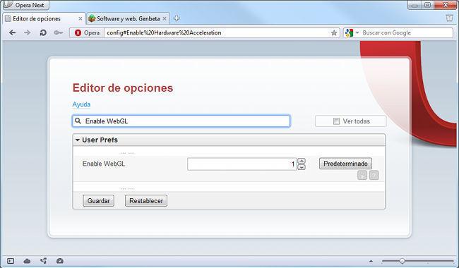 Opera 12, activación WebGL