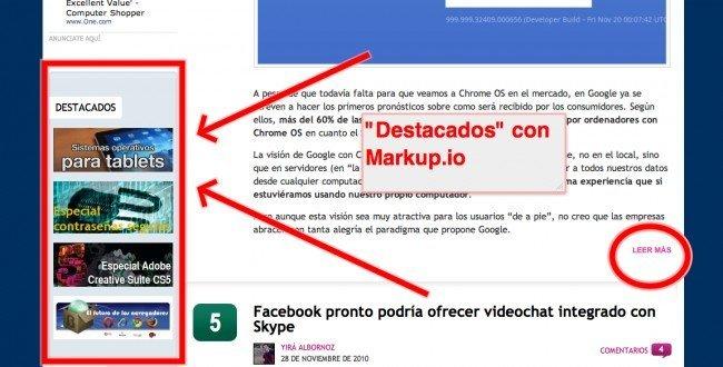 markup.io destaca secciones de páginas web compartidas