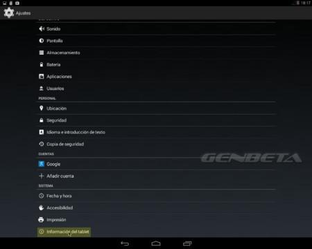 Android-x86, información del dispositivo