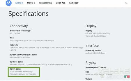 Moto X con 4G