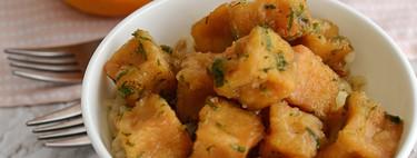 Tofu crujiente de naranja. Receta vegana