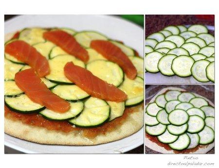 Pizza de calabacín y salmón ahumado. Pasos