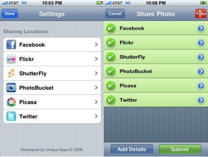 Photoscatter, publica imágenes desde el iPhone a varios servicios simultáneamente