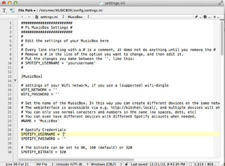 Configurando MusicBox antes de meterlo en la Raspberry Pi