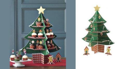 Decoración navideña: árbol de cartón para los cupcakes