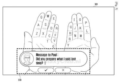 """Samsung patentó """"Galaxy Glass"""", e incluye un teclado virtual en la palma de la mano"""