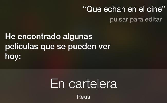 Siri ya es capaz de decirnos qué películas echan en los cines españoles