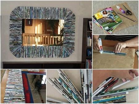 ¿Revistas viejas? Fabrica un original marco para espejo