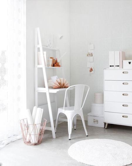 Decora con cobre, blanco y rosa