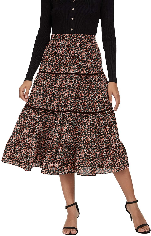 Alcea Rosea Falda de gasa para mujer, línea A, falda larga de flores, cintura alta, falda de playa