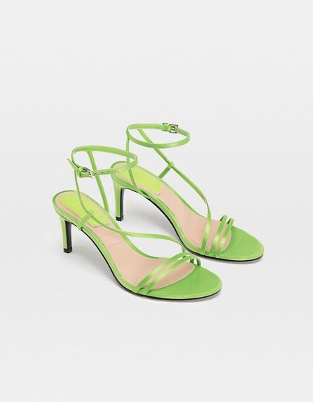 Sandalias tacón tiras verde