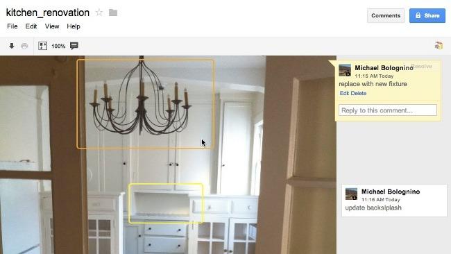 Una imagen con comentarios en Google Drive