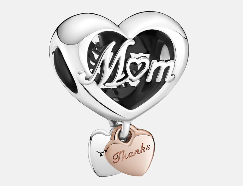 Charm Pandora Corazón Gracias Mamá de plata y Rose