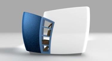 A you B, divisor de espacios futurista con estantería incorporada