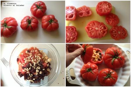 tomates rosas rellenos piñones y uvas pasas