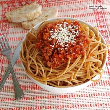 Spaghetti a la Boloñesa. Receta