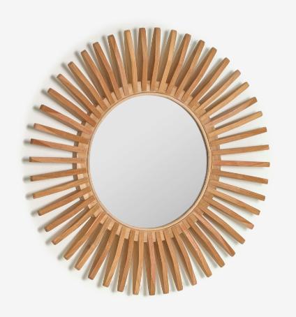 Espejo Ø 80 cm con marco hecho de madera maciza de teca.