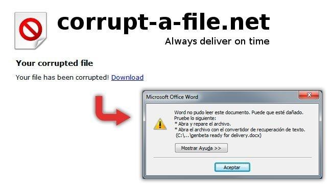 Corrupt A File: Corrompe un archivo a propósito