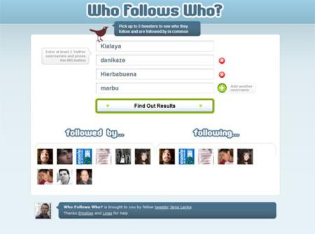 Who Follows Who? Conoce los usuarios en común de hasta 5 usuarios de Twitter