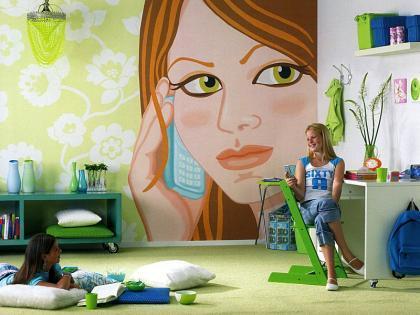 Dormitorio juvenil: un mural de papel como punto de partida