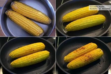 Mazorcas de maíz a la planch