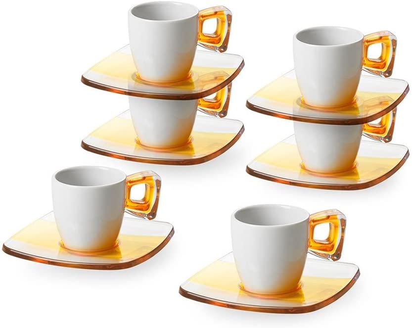 Omada Design Set de 6 tazas de café con mango y platillos, en porcelana y plástico, apto para lavavajillas, Línea Square