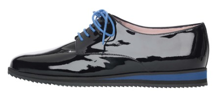 Charlize Black Patent Lace Up With Blue Sneaker Sole And Laces Side Pvp 179