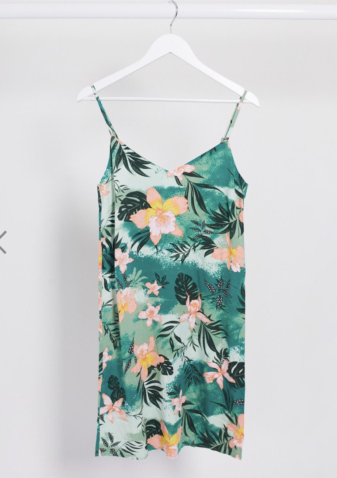 Vestido corto de tirantes con estampado tropical de Vila