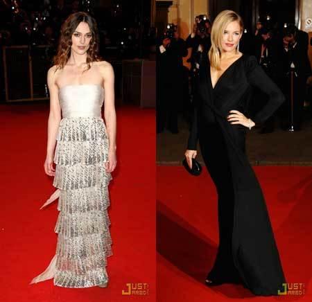 Kiera Knightley y Sienna Miller en los Premios BAFTA 2008