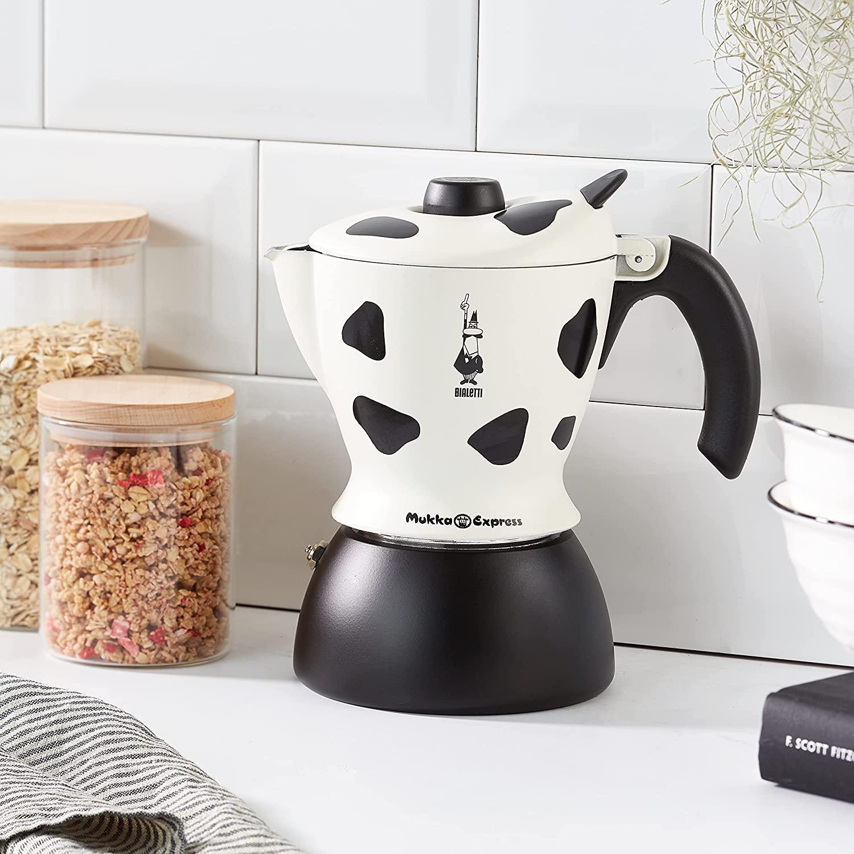Bialetti Moka Mukka Express Caffettiera per Cappuccino Espresso Cremoso, Alluminio, Bianco, 2 tazze