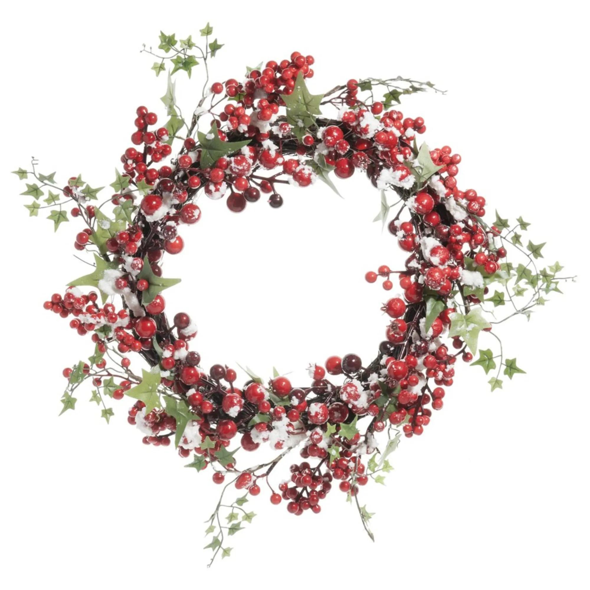 Corona de Navidad artificial con bayas rojas