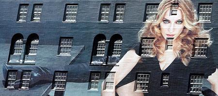 Madonna en los edificios para promocionar su colección de H&M