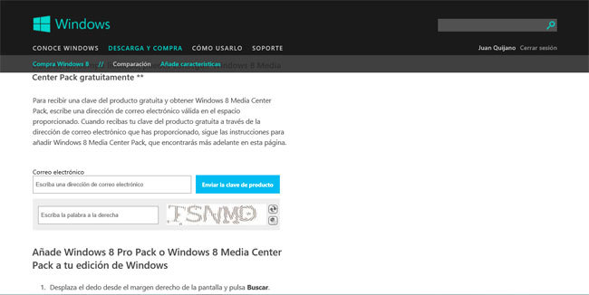 Windows Media Center, formulario de solicitud