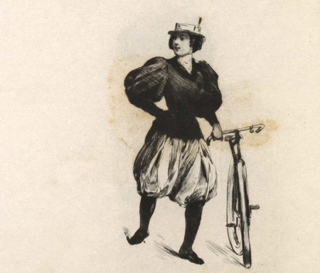 Feat La Bicycliste Et Caricature 1897