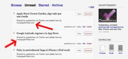 InstapaperFeed: los enlaces con más clicks en Twitter o delicious en tu cuenta de Instapaper