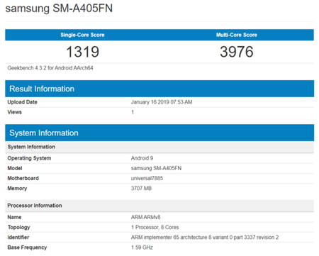 Samsung Galaxy A40 Geekbench