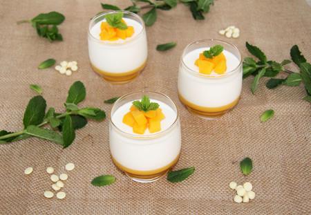 Mousse De Chocolate Blanco Y Yogur Con Gelatina De Melocoton Resultado