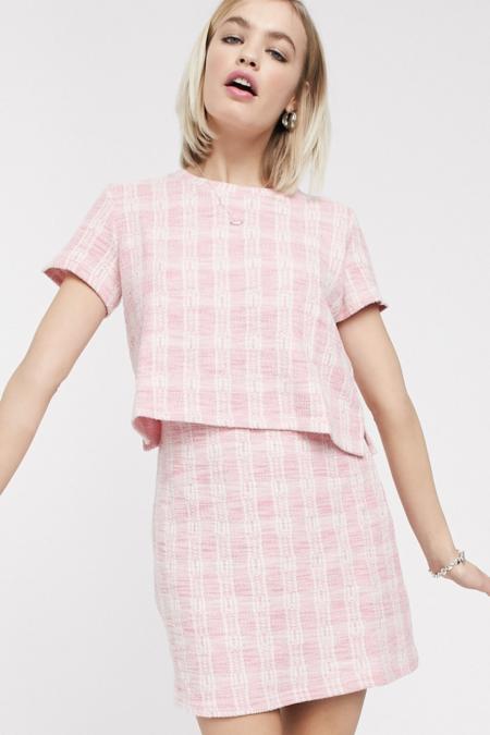 Minifalda Con Diseno De Cuadros De Monki