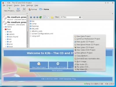 Primeras imágenes de K3b en KDE4