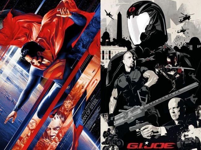Carteles alternativos de El Hombre de Acero y G.I. Joe: La Venganza