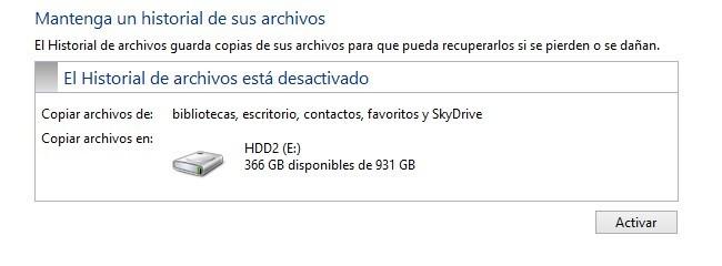 Lista de dispositivos de almacenamiento en Historial de Archivos
