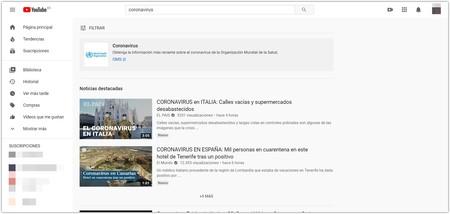 Youtube Aviso Coronavirus