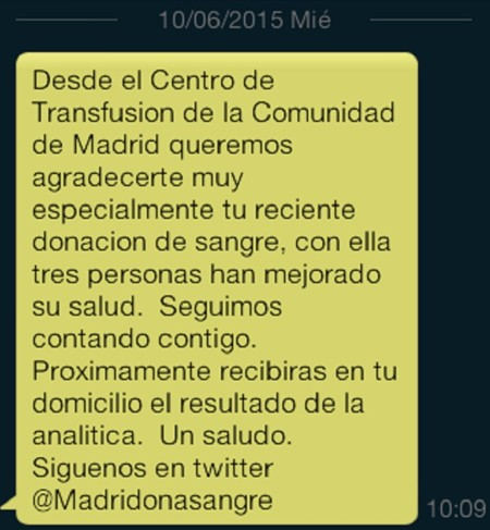 SMS de agradecimiento a los donantes de la Comunidad de Madrid.