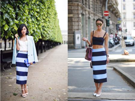 Zina de Fashionvibe y Nicole Warne de Gary Pepper con falda azul a rayas de Zara